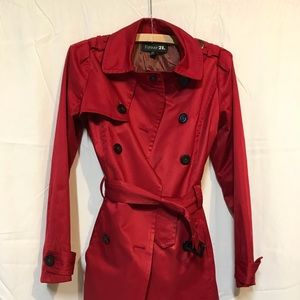 Double breasted Red spring short trench coat